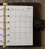 vanilla folders - Pocket monthly planner refill - Monday start