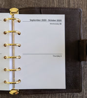 Pocket 2020 Two-Days-on-a-Page calendar planner refill