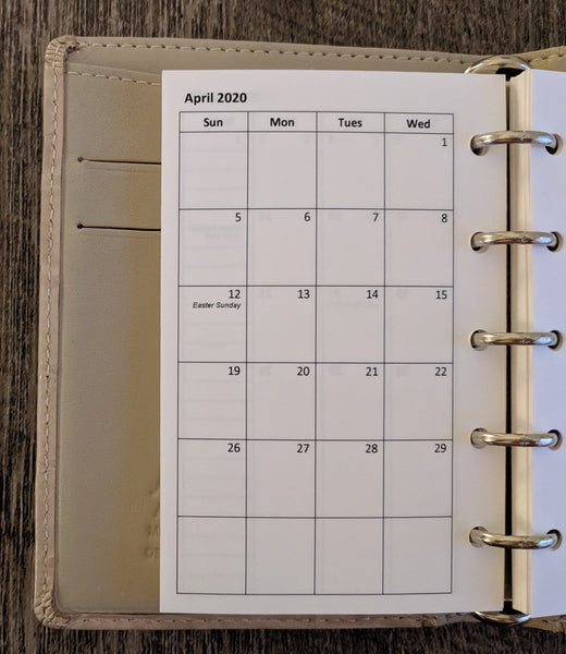 Mini 2020 Sunday-start monthly calendar planner refill (Filofax Mini size) - vf planner pages