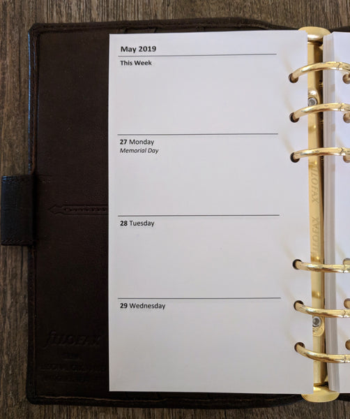 Personal 2019 Week-on-Two-Pages Planner Refill - vanilla folders