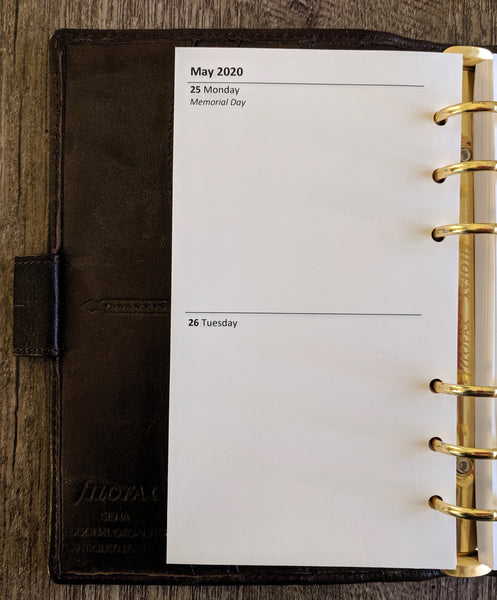 Personal 2020 Two-Days-on-a-Page calendar planner refill - vf planner pages