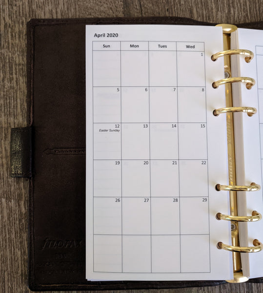 Personal monthly planner refill - Sunday start - vf planner pages handmade