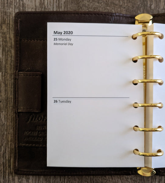 Pocket 2020 two-days-on-a-page calendar refill - vf planner pages
