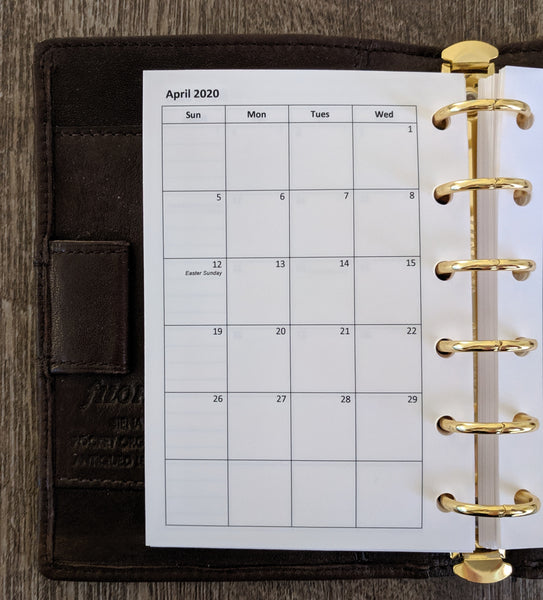 Pocket monthly calendar refill - Sunday start - handmade by vf planner pages