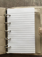 Mini planner 40 lined note sheets refill, white (Filofax Mini size) - vf planner pages