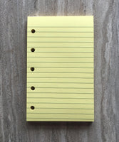 Mini planner notepads, yellow, 40 sheets (Filofax Mini size) - vf planner pages