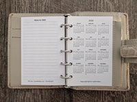 Mini 2019 Monday start monthly calendar refill (Filofax Mini size)