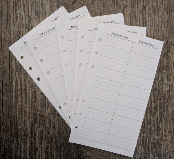 Personal planner 30 telephone contact sheets - vf planner pages