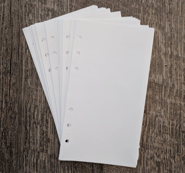 Personal planner 40 plain note sheets refill, white - vf planner pages