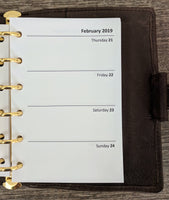 Pocket 2019 Week-on-Two-Pages calendar planner refill