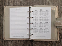 Mini 2019 Week-on-Two-Pages calendar planner refill (Filofax Mini size)