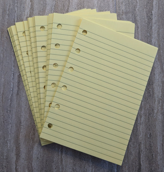 Pocket yellow note sheets  - handmade by vf planner pages
