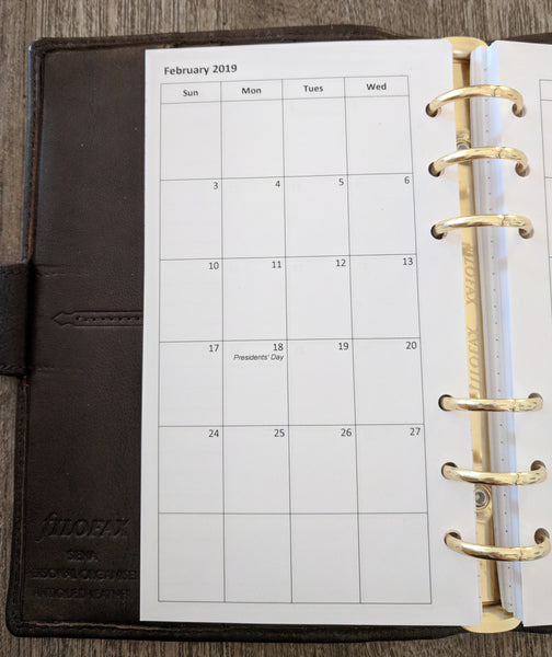 Personal 2019 Sunday-start monthly planner calendar refill