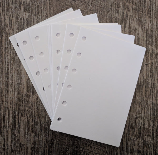 Pocket plain white note sheets  - handmade by vf planner pages