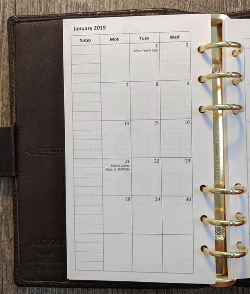 Personal 2019 Monday-start monthly calendar planner refill