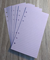 Personal planner 40 lined note sheets refill, lavender - vf planner pages