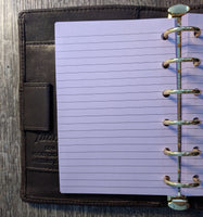 Pocket planner 40 lined note sheets refill, lavender