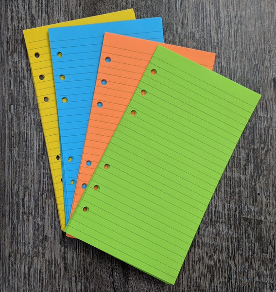 Personal planner 40 lined note sheets refill, brights combo - vf planner pages