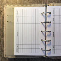 Mini planner 40 expense sheets refill (Filofax Mini size)