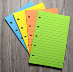 Mini planner 40 lined note sheets refill, brights combo (Filofax Mini size) - vf planner pages