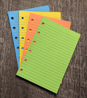 Pocket planner 40 lined note sheets refill, brights combo - vf planner pages