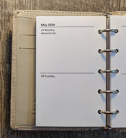 Mini 2019 Two-Days-on-a-Page planner calendar refill  (Filofax Mini size)