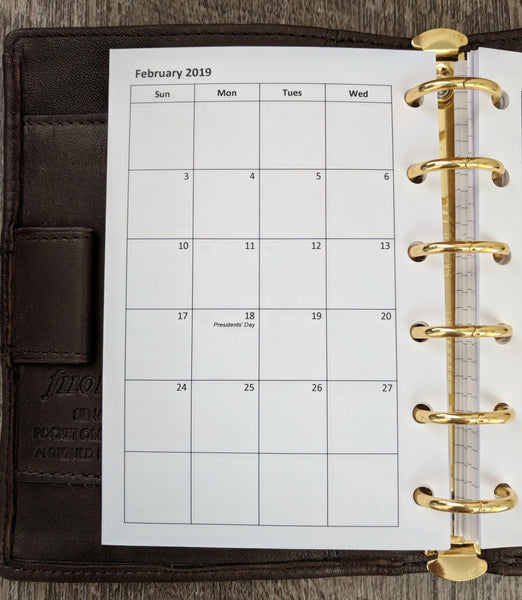 Pocket 2019 Sunday-start monthly calendar planner refill