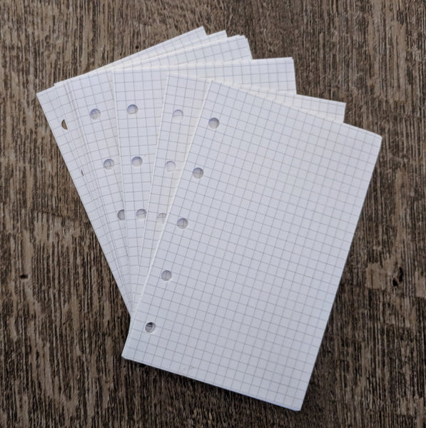 Mini planner 40 graph grid sheets refill, white (Filofax Mini size) - vf planner pages