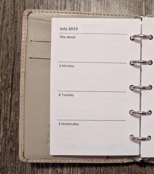 Mini Academic July 2019-20 Week-on-Two-Pages planner calendar refill (Filofax Mini size)