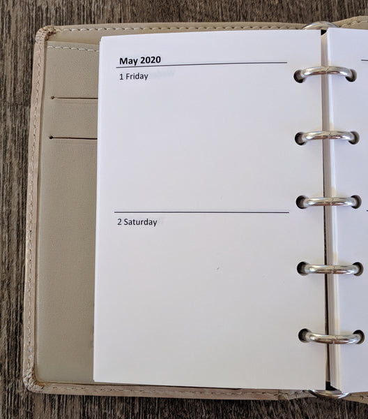 Mini 2020 Two-Days-on-a-Page planner calendar refill (Filofax Mini size) - vf planner pages