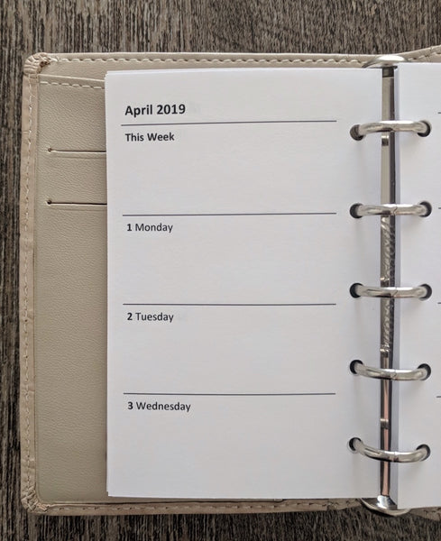 Mini 2019 Week-on-Two-Pages Planner Refill - vanilla folders