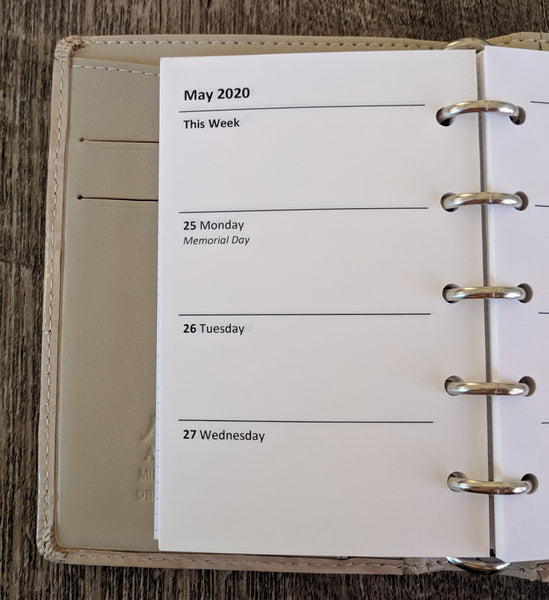 vanilla folders - Mini 2020 week-on-two-pages planner refill - Filofax Mini size