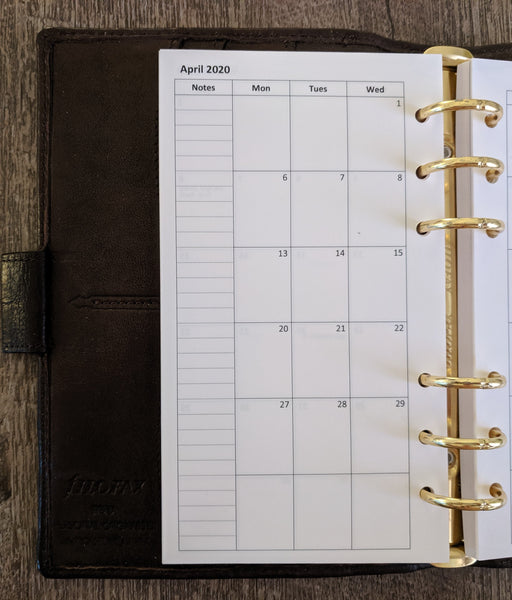 vanilla folders - Personal monthly planner refill - Monday start