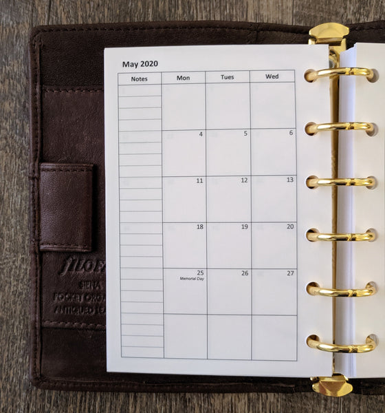 Pocket monthly calendar refill - Monday start handmade by vf planner pages