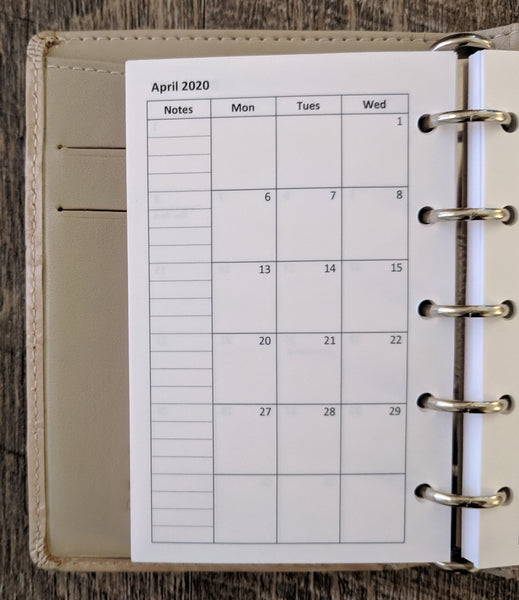 Mini 2020 Monday start monthly calendar refill (Filofax Mini size) - vf planner pages