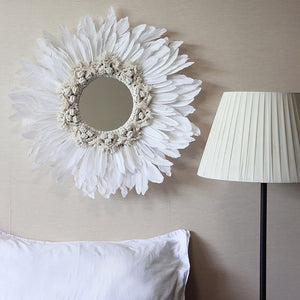 Handmade mirror with tapestry & feather detail