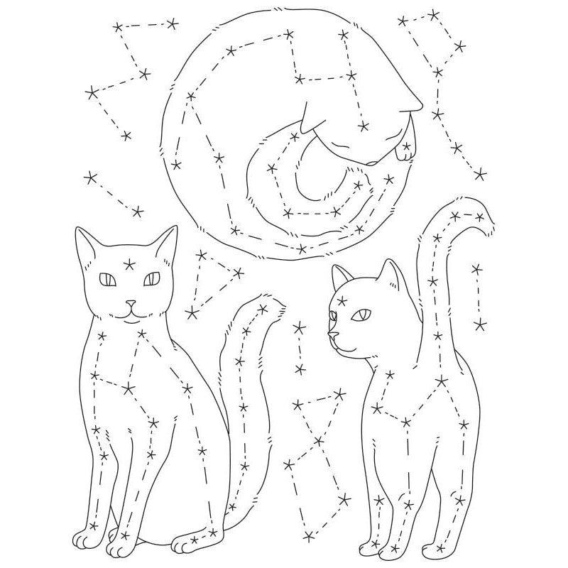 Catstellations Embroidery Transfer