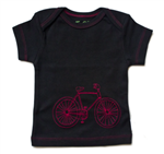 Short Sleeve Black Tee with Red Embroidered Bicycle