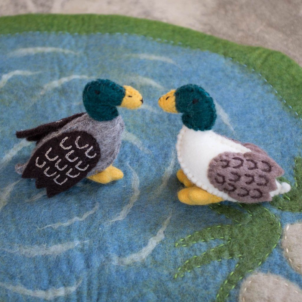 Wool Felt Duck Pond and Play Set