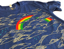 Unisex Heather Blue Rainbow Tees