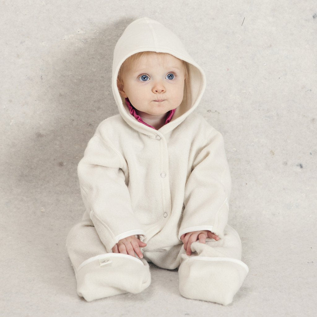 Wool Winter Baby Romper with Hood