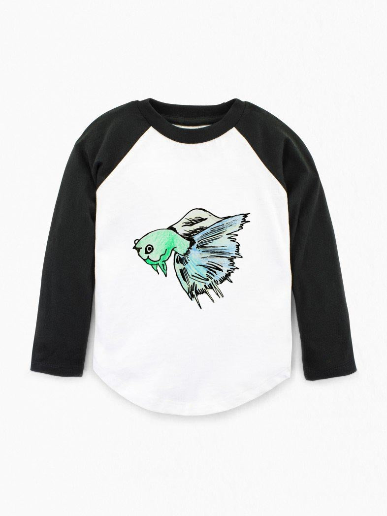 Blue Beta Fish Raglan