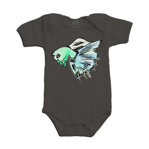 Blue Beta Fish on a Grey Baby Onesie