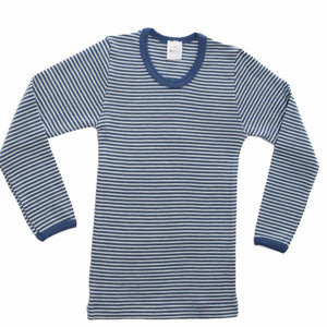 Striped Wool Silk Long Sleeve Under Shirt