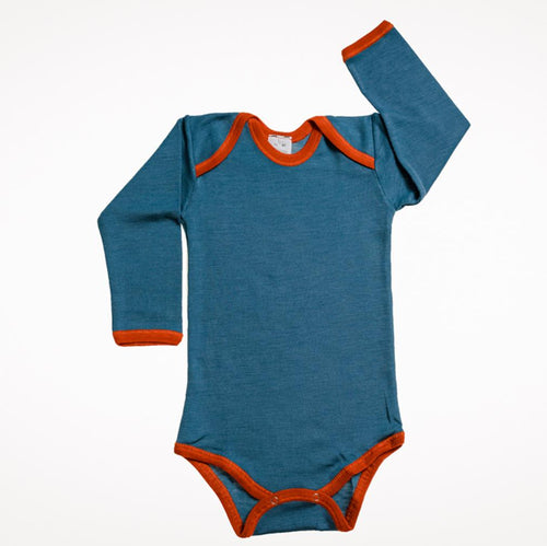 Wool Silk Long Sleeve Teal Blue Onesie