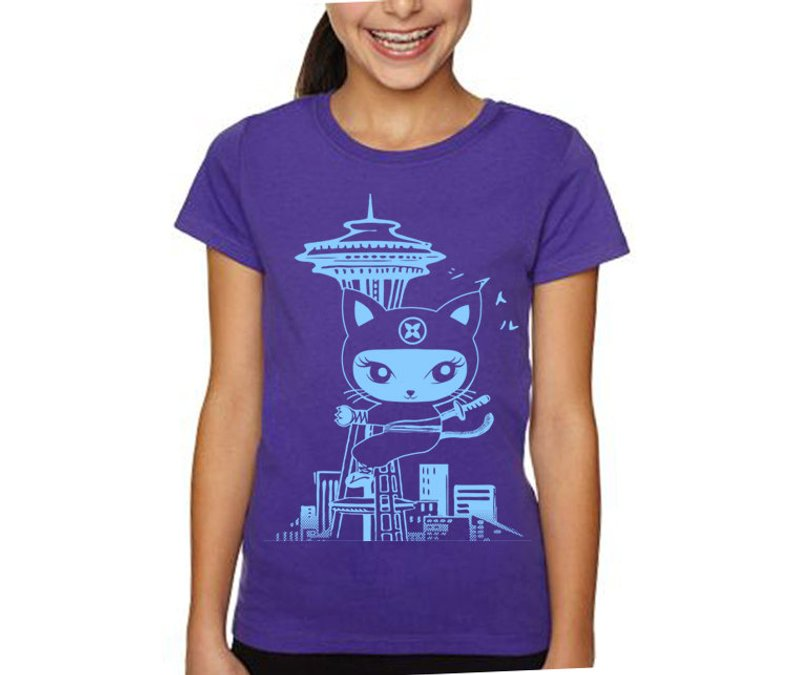 Seattle Cat Ninja Tee By Retro Pop Namu