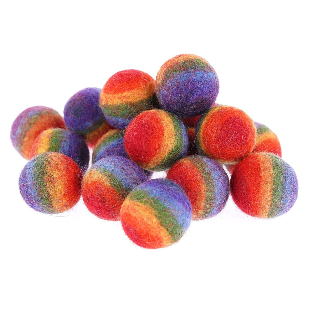 Tiny Rainbow Wool Felt Balls 1.5 Inch