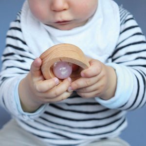 Alder Wood Rattle with Rose Quartz