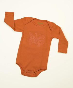 TwOOwls Orange/Pink Butterfly Long Sleeve Romper 6-12-100% organic cotton