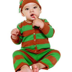 HappyGreenBee Red/Green Striped Baby Sweater